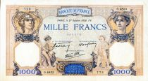 France 1000 Francs Ceres and Mercury - 27/10/1938 Serial O.4833 - VF