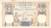 France 1000 Francs Ceres and Mercury - 27-10-1938 Serial P.4974 - F+