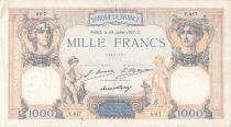 France 1000 Francs Ceres and Mercury - 28-07-1927 Serial Y.417 - F+