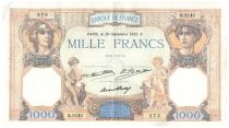 France 1000 Francs Ceres and Mercury - 29-09-1932 Serial Q.2141 - VF