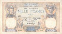 France 1000 Francs Ceres and Mercury - 29-10-1927 Serial O.651 - F+