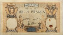 France 1000 Francs Ceres and Mercury - 30-03-1939 Serial A.6846 - VF