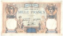 France 1000 Francs Ceres and Mercury - 30-03-1939 Serial G.6846 - VF