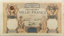 France 1000 Francs Ceres and Mercury - 30-03-1939 Serial K.6667 - VF