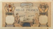 France 1000 Francs Ceres and Mercury - 30-03-1939 Serial N.6754 - VF