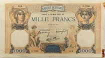 France 1000 Francs Ceres and Mercury - 30-03-1939 Serial O.7038 - VF