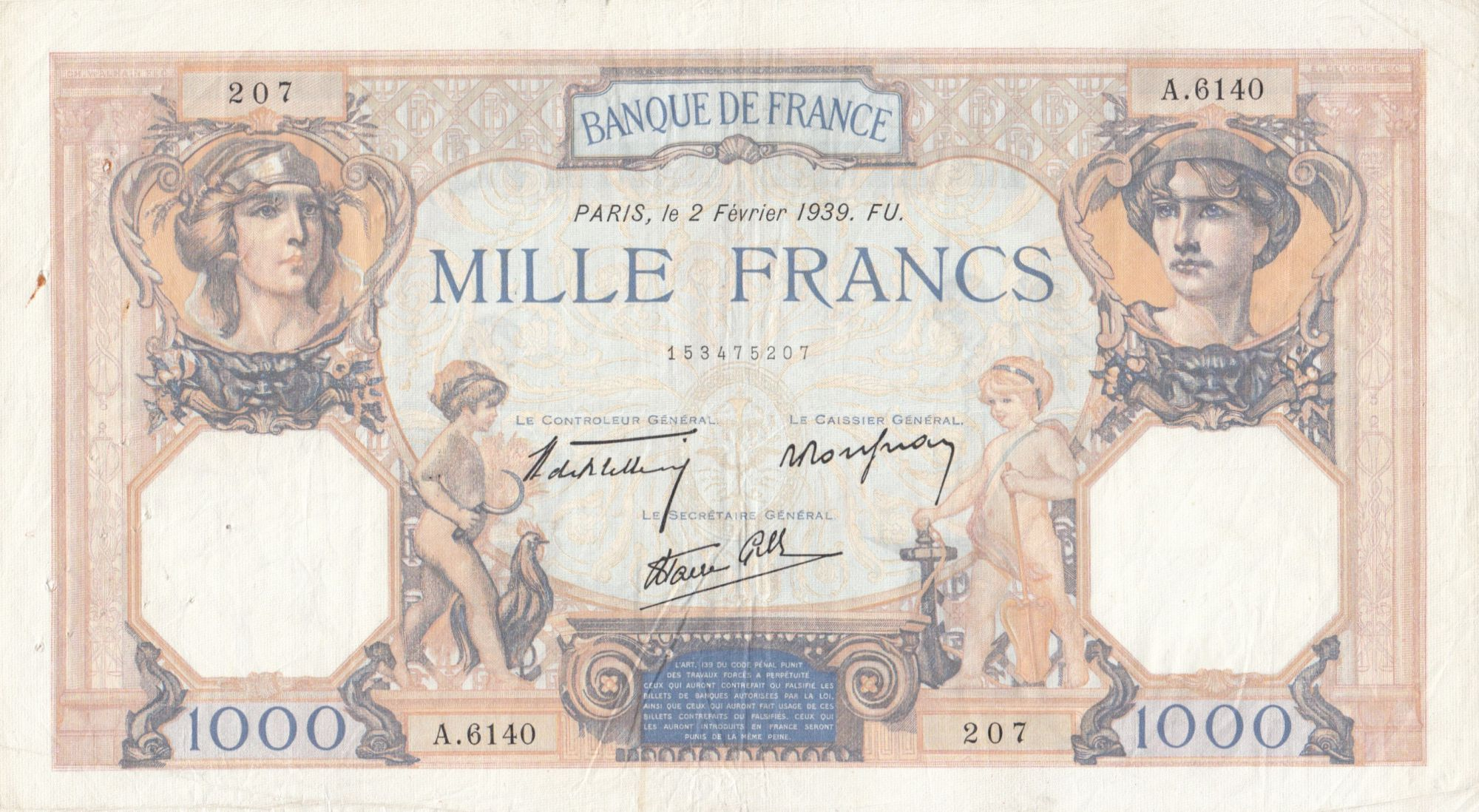 France 1000 Francs Cérès et Mercure - 02-02-1939 Série A.6140 - TTB