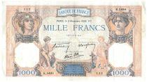 France 1000 Francs Cérès et Mercure - 03-11-1938 Série K.5499 - TTB