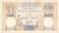 France 1000 Francs Cérès et Mercure - 08-02-1940 Série X.8759 - PTB