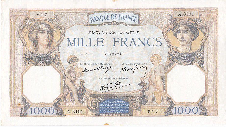 France 1000 Francs Cérès et Mercure - 09/12/1937 Série A3101
