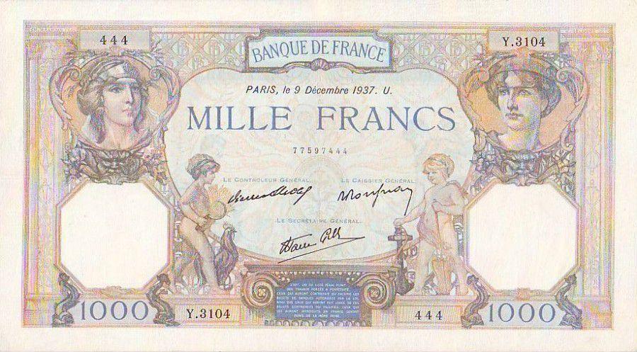France 1000 Francs Cérès et Mercure - 09/12/1937 Série Y3104