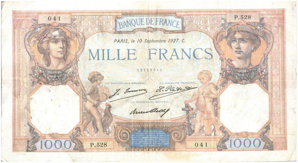 France 1000 Francs Cérès et Mercure - 10/09/1927 Série P528