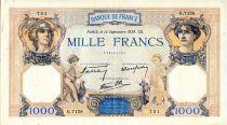 France 1000 Francs Cérès et Mercure - 14/09/1939 Série G.7128 - TTB