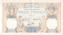 France 1000 Francs Cérès et Mercure - 16-11-1939 Série Q.8301 - TTB