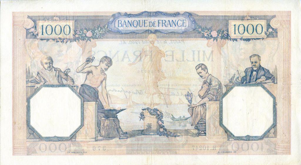 France 1000 Francs Cérès et Mercure - 18/07/1940 Série R.10247 - TTB