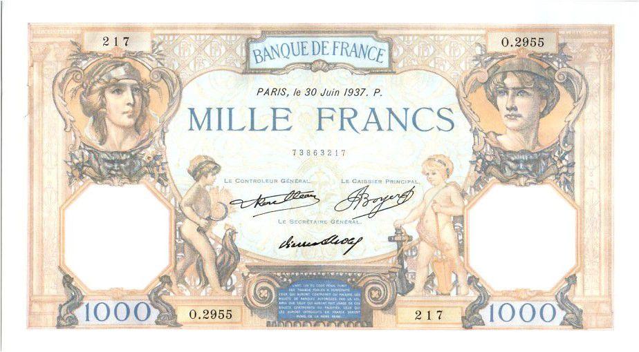 France 1000 Francs Cérès et Mercure - 1937 - SPL