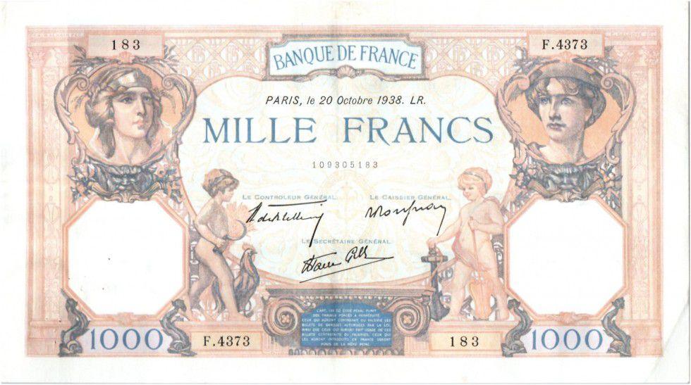 France 1000 Francs Cérès et Mercure - 20-10-1938 Série F.4373-183