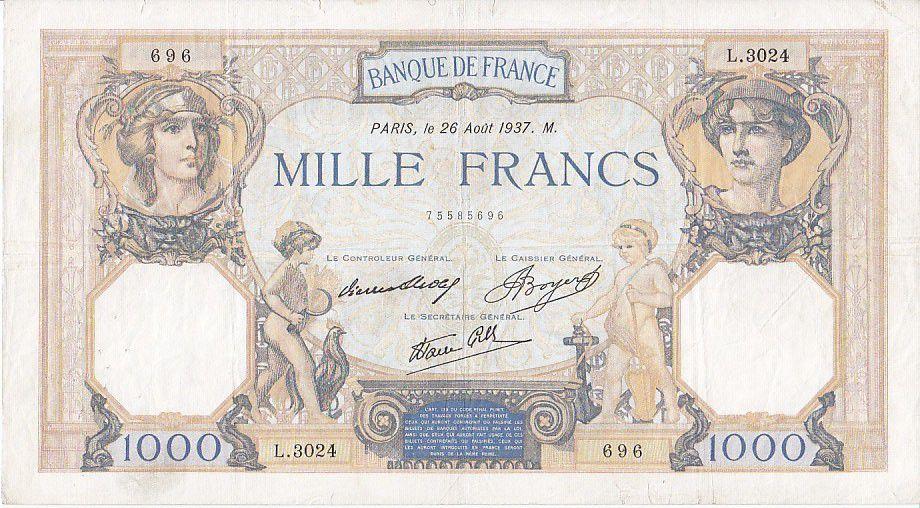 France 1000 Francs Cérès et Mercure - 26/08/1937 Série D3024