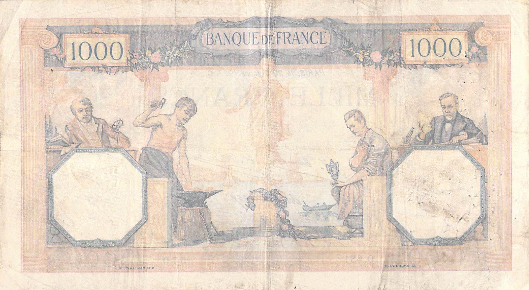 France 1000 Francs Cérès et Mercure - 29-10-1927 Série O.651 - TB+