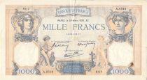 France 1000 Francs Cérès et Mercure - 30-03-1939 Série A.6518 - TB+