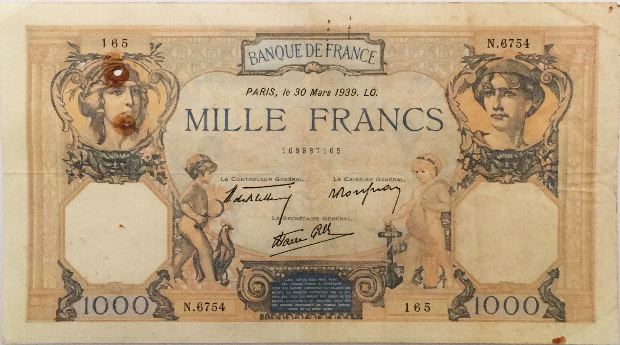 France 1000 Francs Cérès et Mercure - 30-03-1939 Série N.6754 - TTB