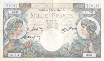 France 1000 Francs Commerce and Industry - 06-02-1941 Serial D.1547 - F to VF