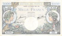 France 1000 Francs Commerce and Industry - 06-02-1941 Serial M.1549 - F to VF