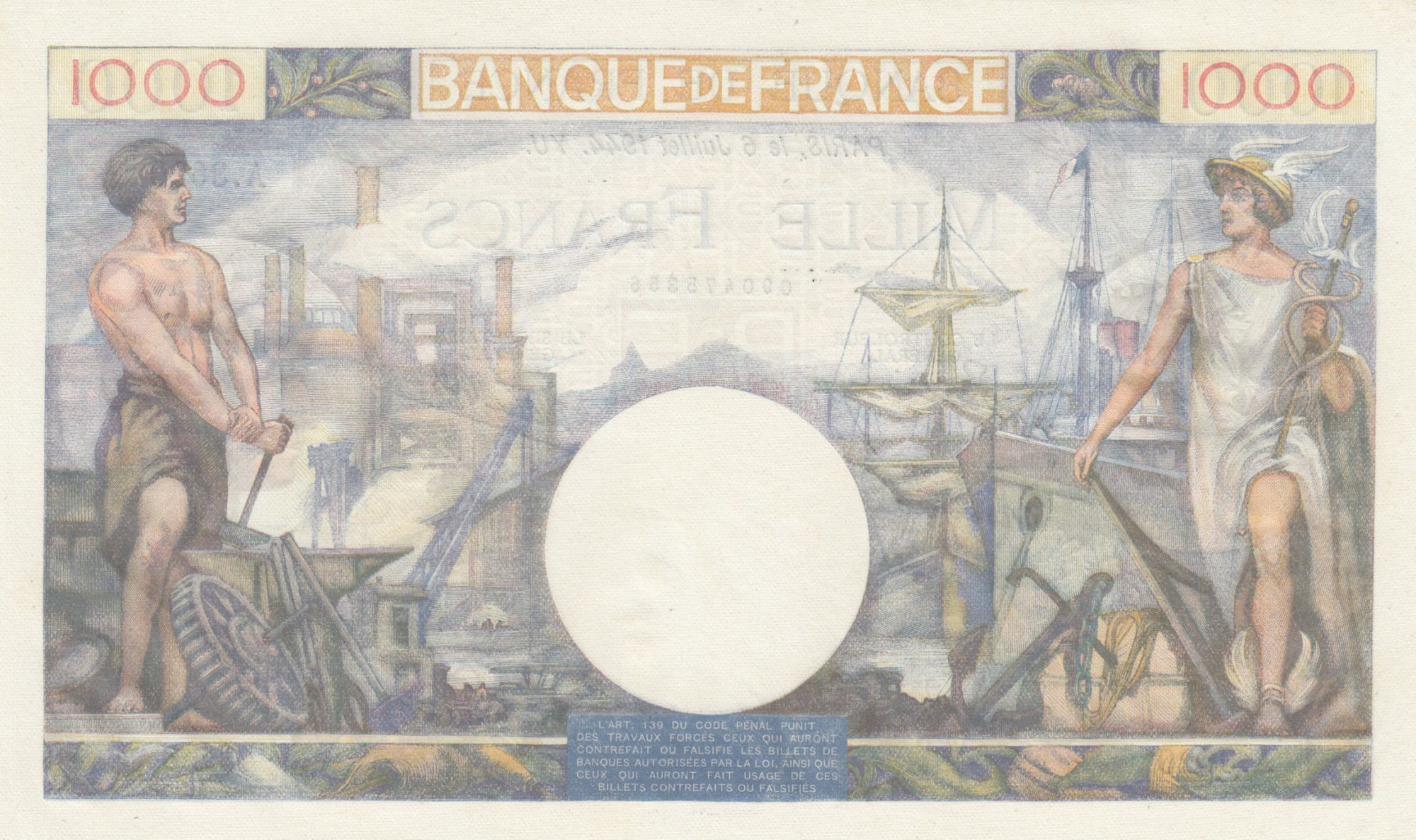 France 1000 Francs Commerce and Industry - 06-07-1944 - Serial A.3620 - AU