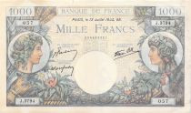 France 1000 Francs Commerce and Industry - 13-07-1944 Serial J.3794 - F to VF