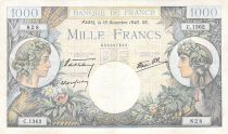 France 1000 Francs Commerce and Industry - 19-12-1940 Serial C.1362 - VF