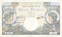 France 1000 Francs Commerce and Industry - 19-12-1940 Serial M.1335 - F to VF