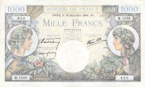 France 1000 Francs Commerce and Industry - 19-12-1940 Serial M.1350 - VF