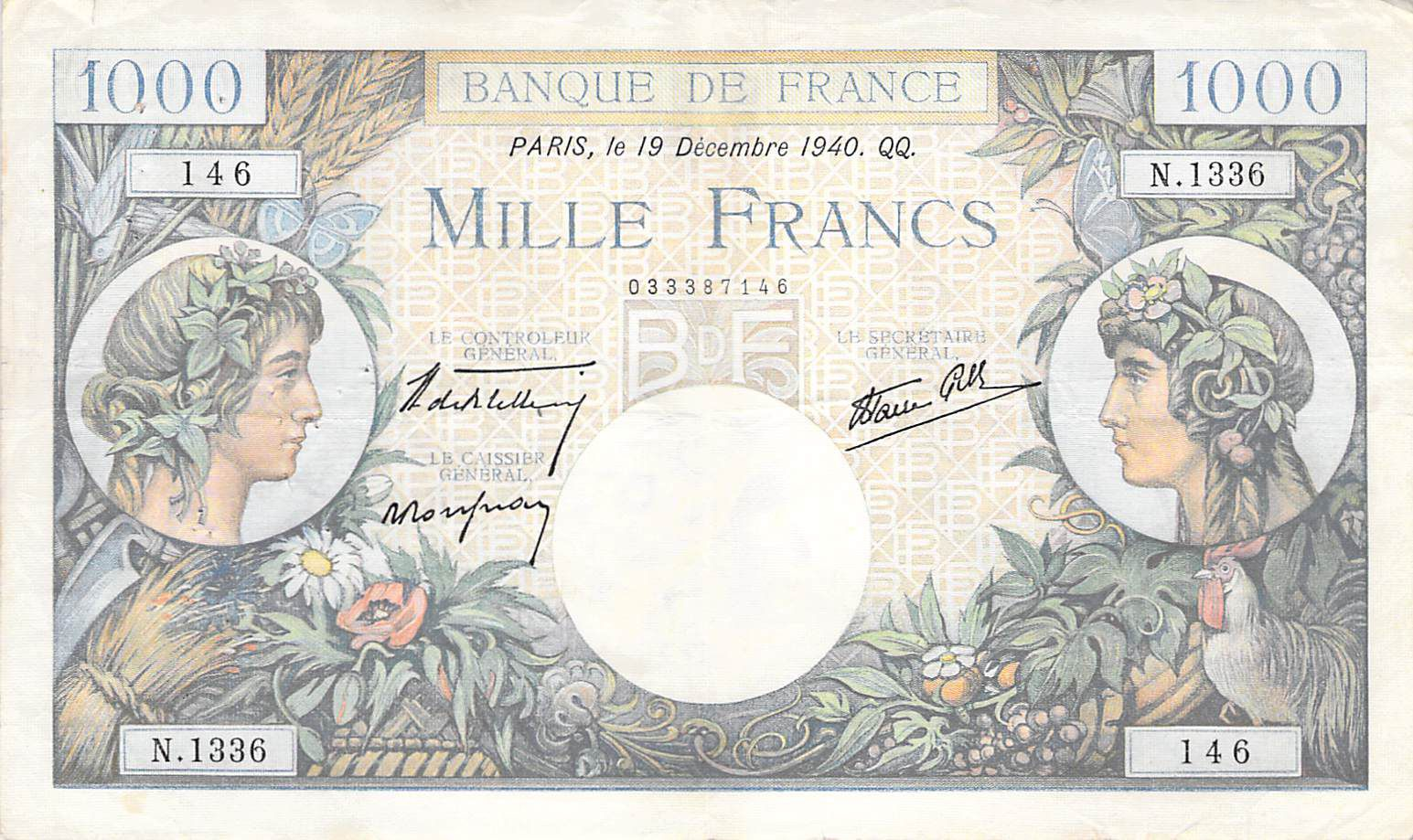 France 1000 Francs Commerce and Industry - 19-12-1940 Serial N.1136 - VF