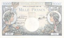 France 1000 Francs Commerce and Industry - 19-12-1940 Serial O.986 - VF+