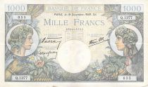 France 1000 Francs Commerce and Industry - 19-12-1940 Serial Q.1377 - VF