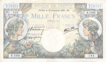 France 1000 Francs Commerce and Industry - 19-12-1940 Serial R.1354 - F to VF