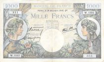 France 1000 Francs Commerce and Industry - 19-12-1940 Serial W.1335 - VF