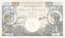 France 1000 Francs Commerce and Industry - 19-12-1940 Serial Z.1390 - VF