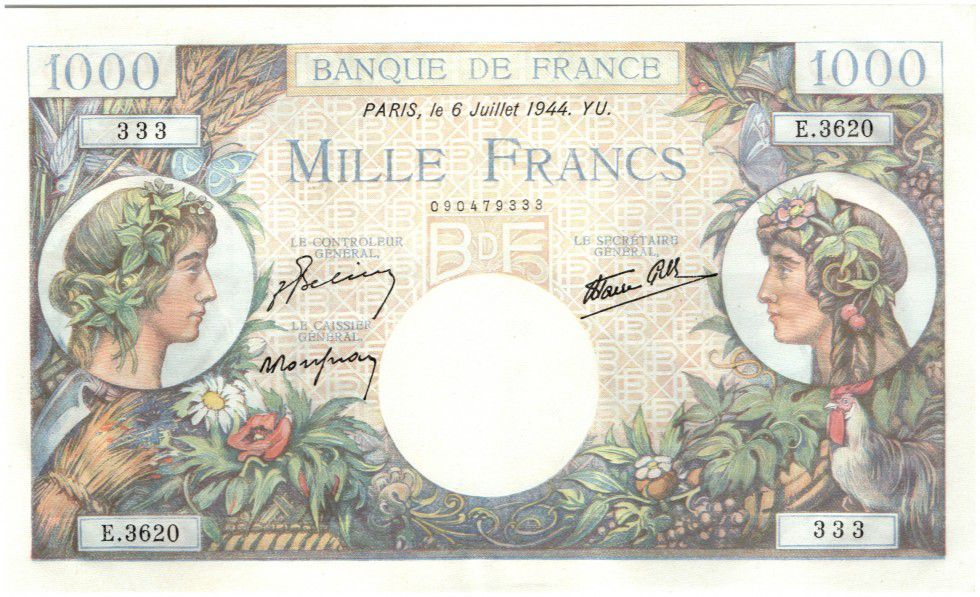 France 1000 Francs Commerce and Industry - 1944