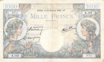 France 1000 Francs Commerce and Industry - 24-10-1940 Serial K.163 - F to VF