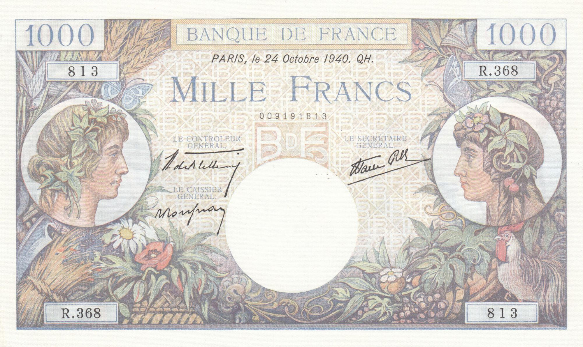 France 1000 Francs Commerce and Industry - 24-10-1940 Serial R.368 - XF+
