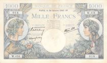 France 1000 Francs Commerce and Industry - 24-10-1940 Serial W.414 - VF+