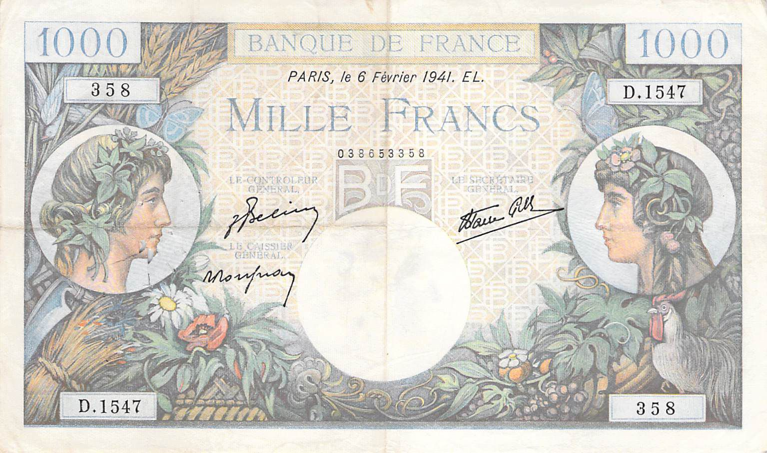 France 1000 Francs Commerce et Industrie - 06-02-1941 Série D.1547 - PTTB