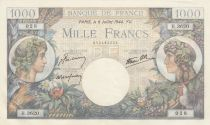 France 1000 Francs Commerce et Industrie - 06-07-1944 - Série D.3620 - SUP +