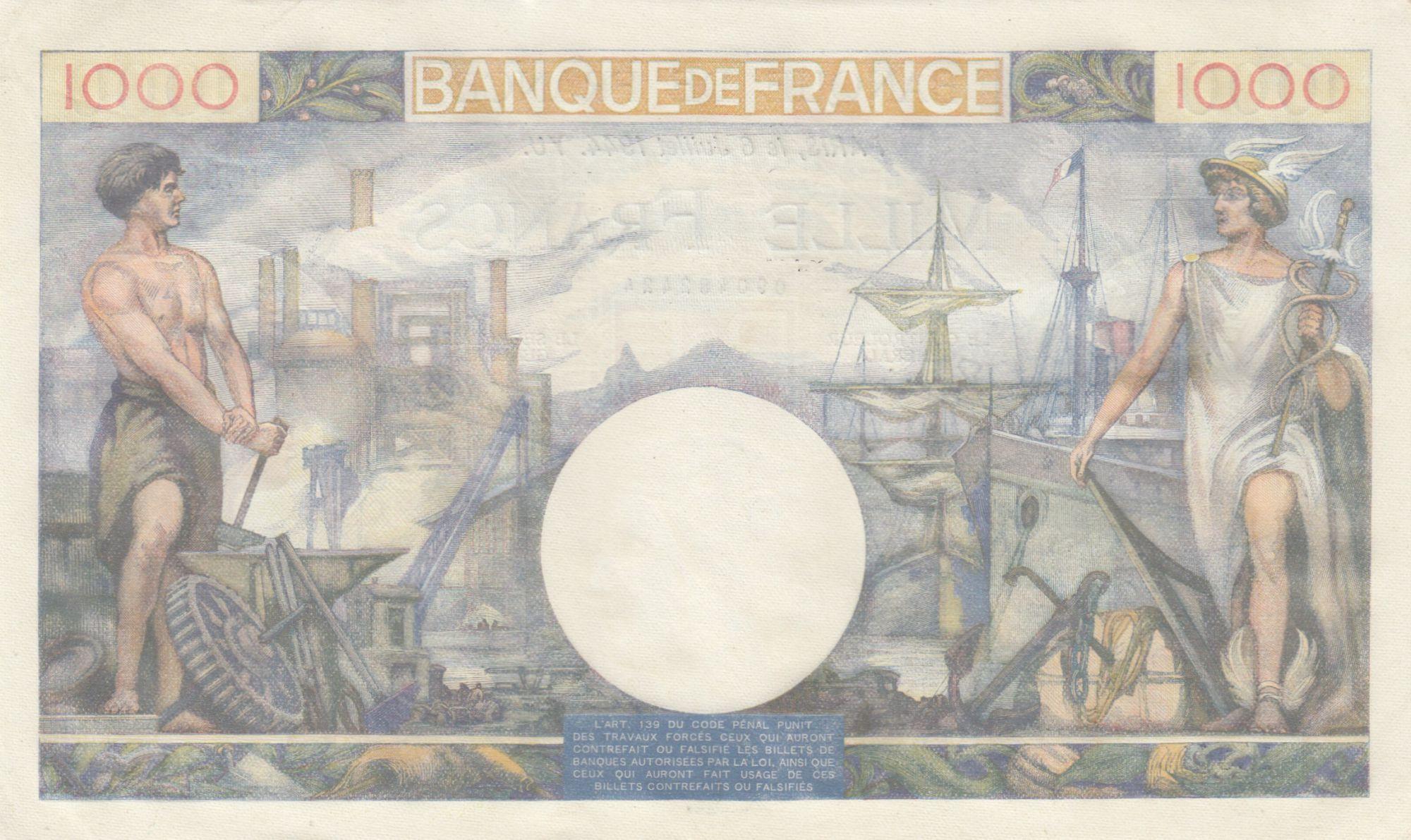 France 1000 Francs Commerce et Industrie - 06-07-1944 - Série D.3620 - SUP +