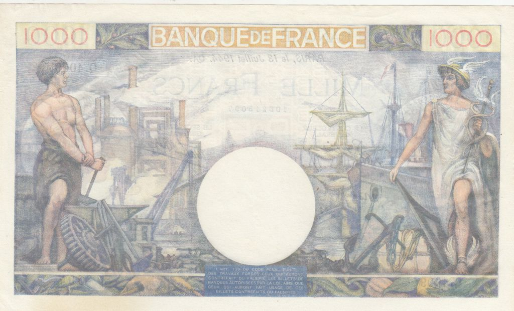 France 1000 Francs Commerce et Industrie - 13-07-1944 - Série Q.4009 - SPL