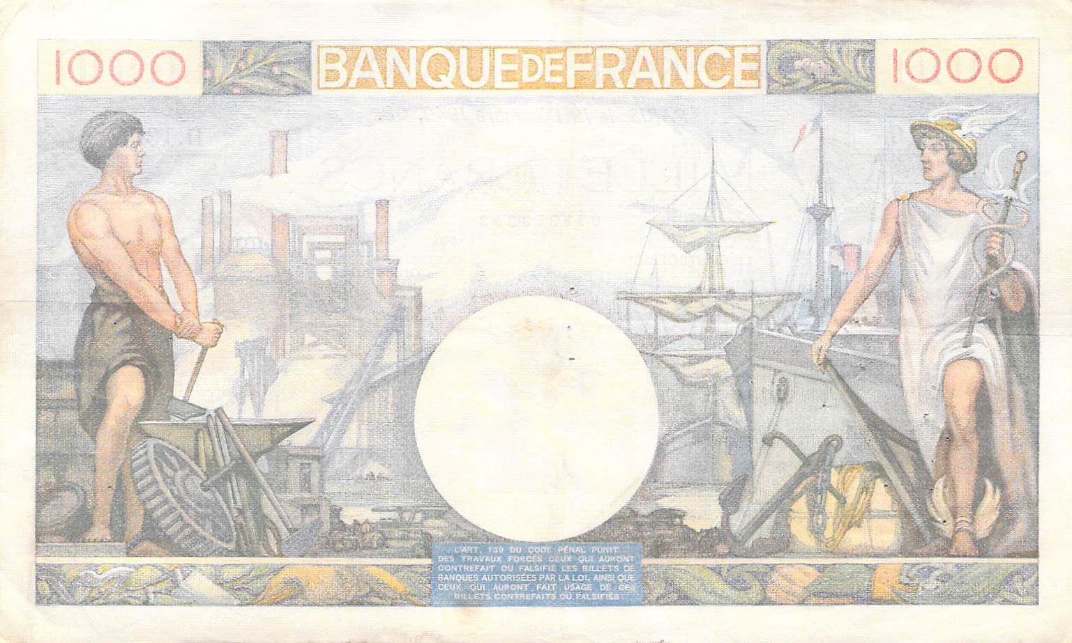 France 1000 Francs Commerce et Industrie - 19-12-1940 Série D.1335 - TTB+
