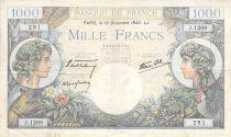 France 1000 Francs Commerce et Industrie - 19-12-1940 Série J.1209 - PTTB