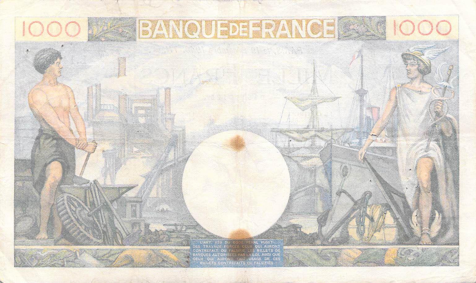 France 1000 Francs Commerce et Industrie - 19-12-1940 Série L.1405 - PTTB