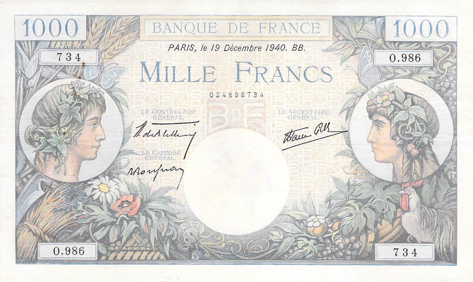 France 1000 Francs Commerce et Industrie - 19-12-1940 Série O.986 - TTB+